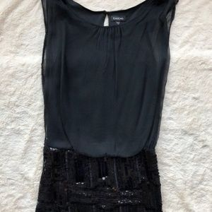 Bebe Black Beaded/sequin Mia Skirt Mini